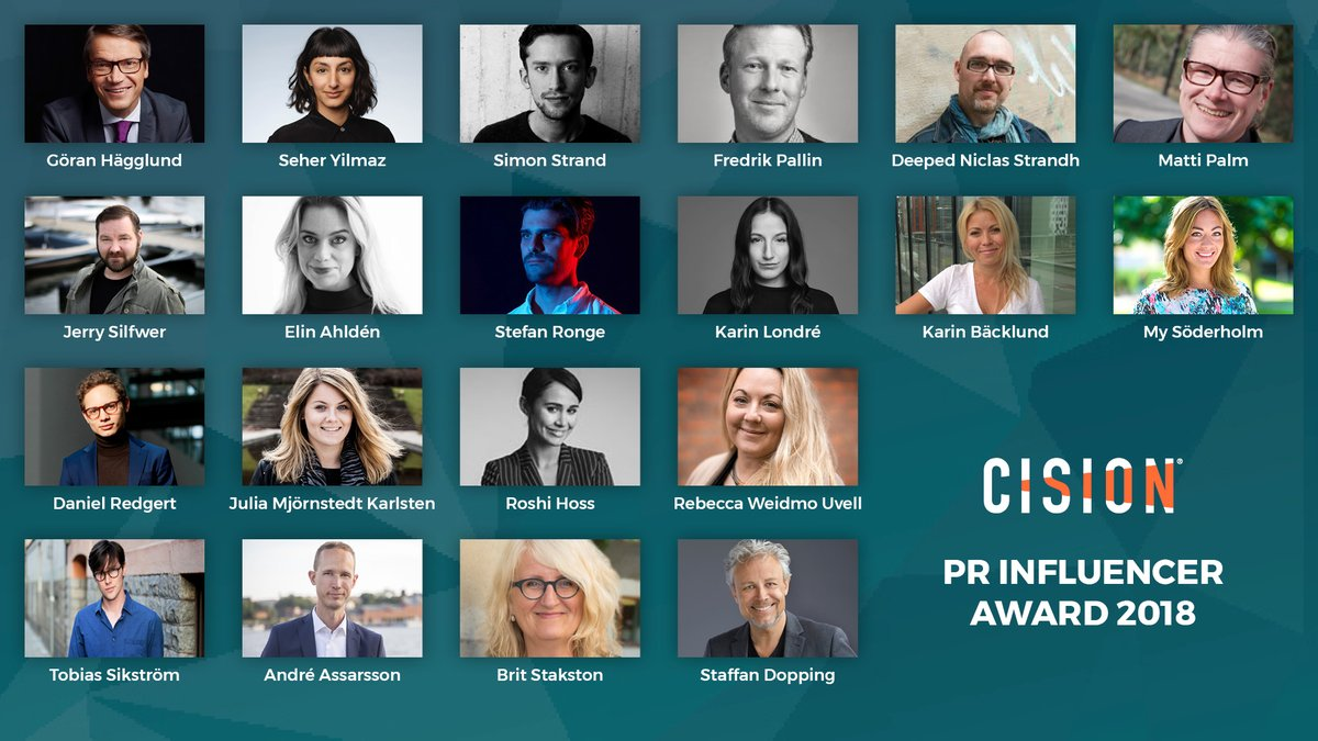 De nominerade i Cision PR Influencer Awards 2018.