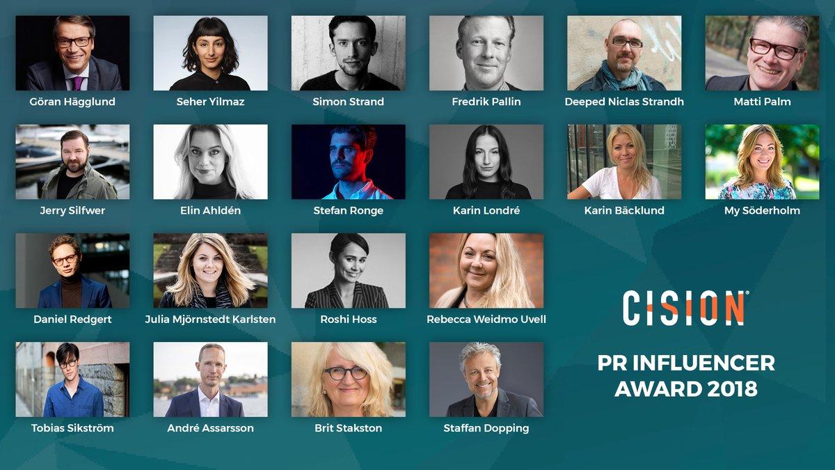 De nominerade i Cision PR Influencer Awards 2018.